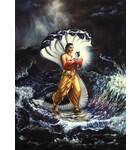 Krishna as a baby Carried over the Yamuna River by Vasudeva