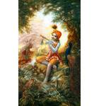 Krishna Playing His Flute in the Forest