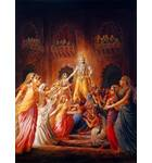 Krishna Leaving, His Wives Lamenting