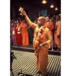Srila Prabhupada offers First Aroti at Bhaktivedanta Manor