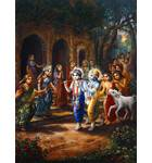 Krishna and Balarama Entering Village Painting