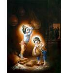 Krishna and Balarama Stealing Butter Painting