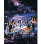 Krishna and Gopis Water Pastimes Painting