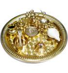"Medium Aroti Set (11.5"" tray w/ Bell, Incense Holder, Flower Tray, Conch, Ghee Lamp)"