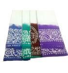 Sari, Cotton White with Colorful Batik Border