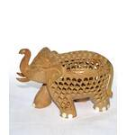 Hand-Carved Wood Elephant Figure
