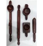 Classic Vedic Fire Yajna Sacrifice Implements (5 wooden piece set)