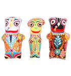 Childrens Stuffed Toy: Jagannatha, Baladeva and Lady Subhadra Dolls with Embroidery