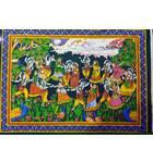 "Wall Hanging -- Krishna's Rasa-Lila Dance with Radharani and Gopis (30""x40"")"