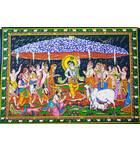 "Wall Hanging -- Krishna Lifting Govardhan Hill (30""x40"")"