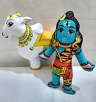 Lord Shiva and Nandi Bull Dolls -- Childrens Stuffed Toy