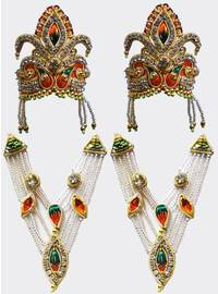 Crown and Necklace Set -- with green & red Thread Work & diamond / gold look (pair)