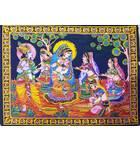 "Wall Hanging -- Radha Krishna Playing Holi With Gopis (30""x40"")"