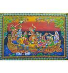 "Wall Hanging -- Radha Krishna With Gopies in Boat (30""x40"")"