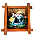 """Wooden Framed Picture -- Lord Krishna --  9"""" x 9"""""""