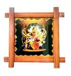 "Wooden Framed Picture -- Lord Nrsimhadeva Kills Hiranyakasipu --  9"" x 9"""
