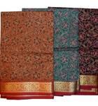Sari, Cotton Printed  -- Dark Colors with Fancy Gold Border