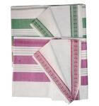 Sari, Cotton Printed -- Plain White Sari with Color Pattern Borders