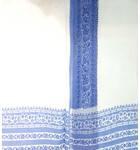 Sari, Fine Cotton -- White with Printed Blue Border