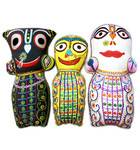 "Childrens Stuffed Toy: Set of 3 Jagannatha - Baladeva - Subudra Dolls (10"")"