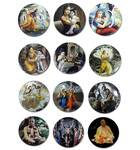Krishna Decoration Magnets -- Radha, Krishna, Gaura Nitai, Prabhupada etc. (12-pack)