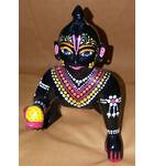 Laddu Gopal Painted Black Brass Sitting Deity 7""