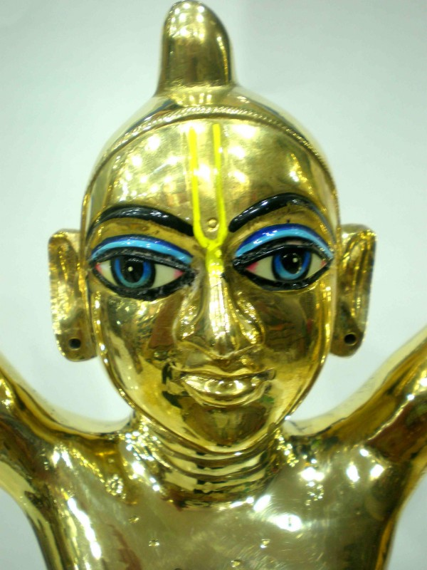 Big Brass Gaura Nitai Deities Face Round Base