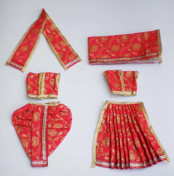 Radha Krishna Dress Wit Embroidery -- Red