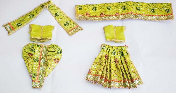 Radha Krishna Dress With Sequins -- Light Green