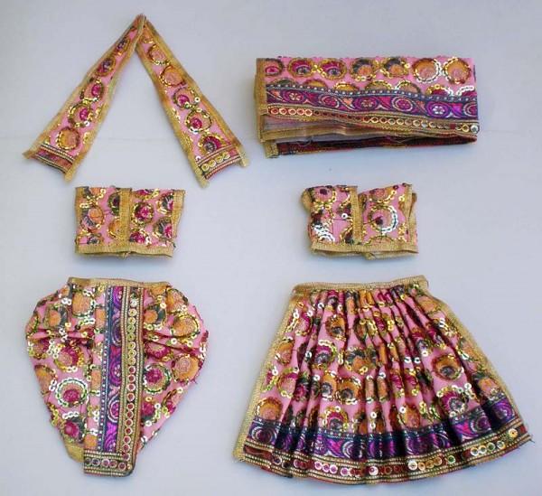 Radha Krishna Dress with Round Sequins -- Pink