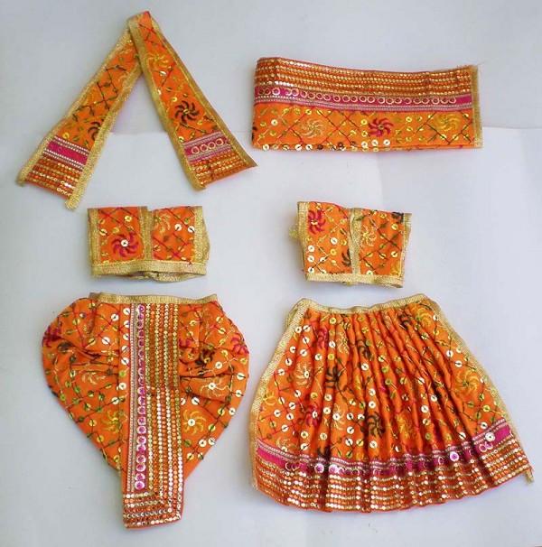 Radha Krishna Dress With Embroidery -- Orange